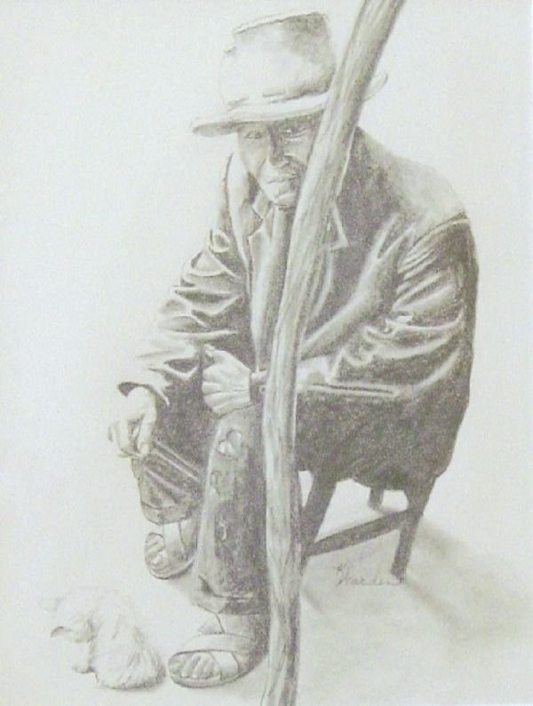 15A: Elder with Cat by Warden