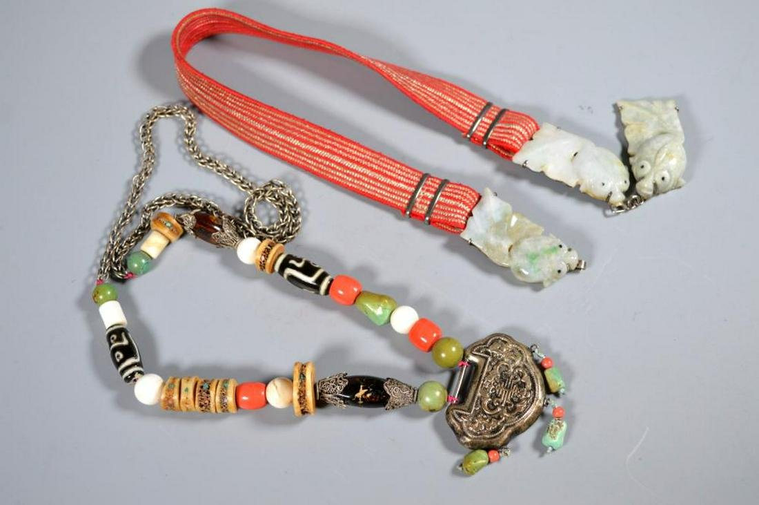 TWO CHINESE NECKLACES; JADEITE, SILVER, TIBETAN