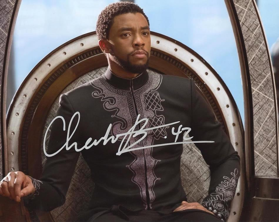 Chadwick Boseman BLACK PANTHER In Person Signed Photo