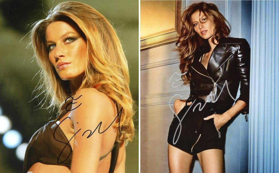 2 Gisele Bundchen SEXY In Person Signed Photos