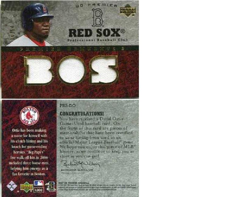 David Ortiz Red Sox Game Worn Jersey Swatch Card