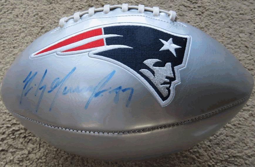 Rob Gronkowski NE Patriots Signed Silver Logo Football