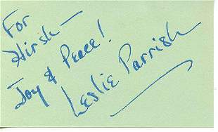 Leslie Parrish In Person Signed Index Card