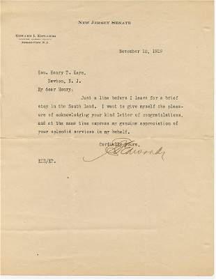 Edward Irving Edwards SENATE Typed Letter