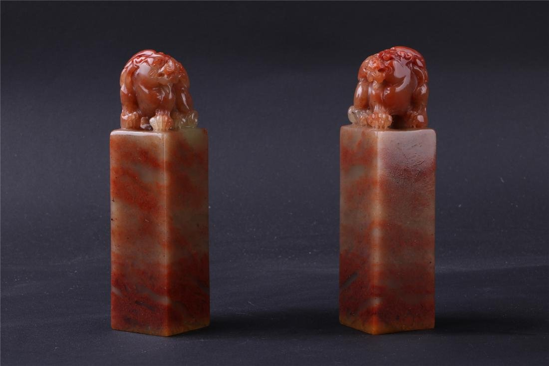 A PAIR OF CHINESE SOAPSTONE SEALS, QING DYANSTY