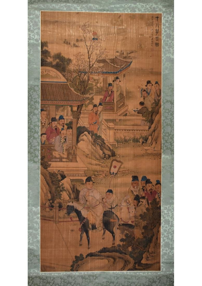 A CHINESE SILK SCROLL PAINTING, ATTRIBUTED TO WANG WHEN