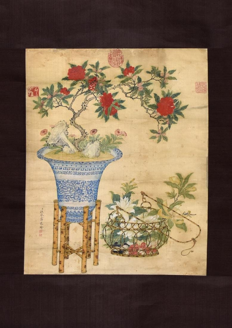 A CHINESE SILK SCROLL PAINTING, ATTRIBUTED TO WANG
