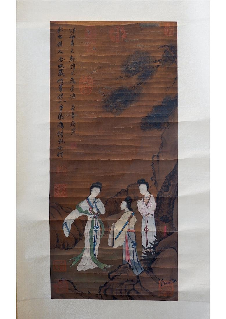 A CHINESE BEAUTY SILK SCROLL PAINTING,ATTRIBUTED TO