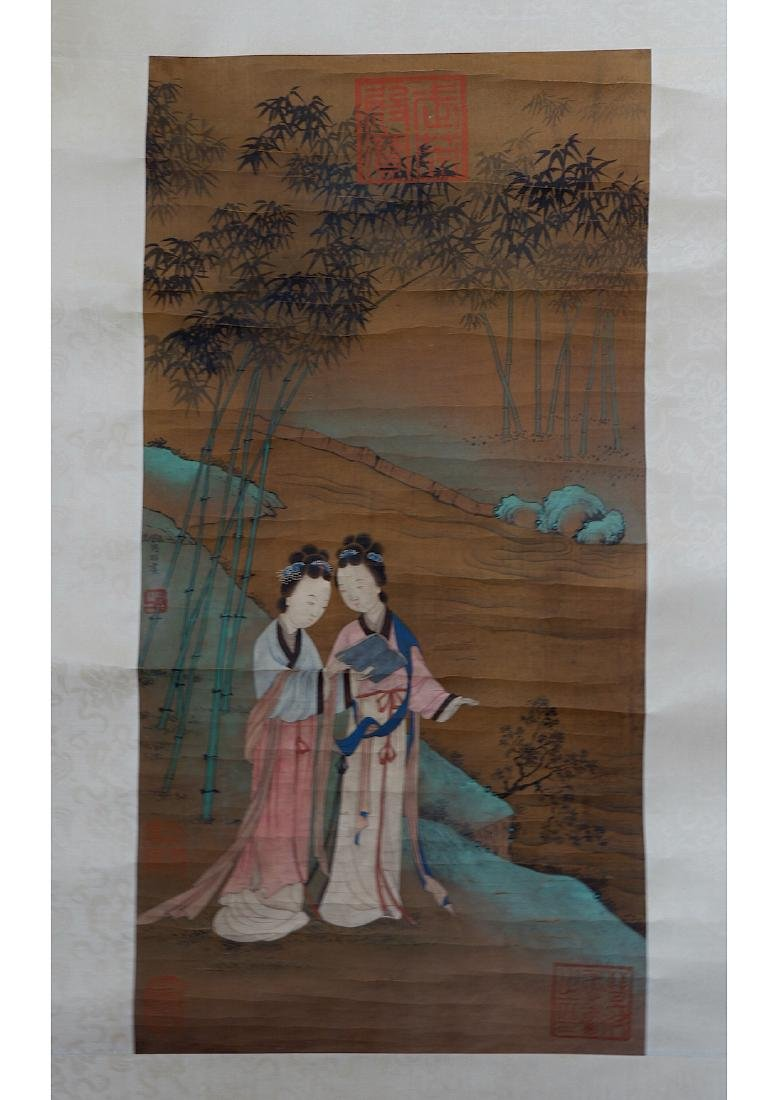 A CHINESE BEAUTY SILK SCROLL PAINTING, ATTRIBUTED TO