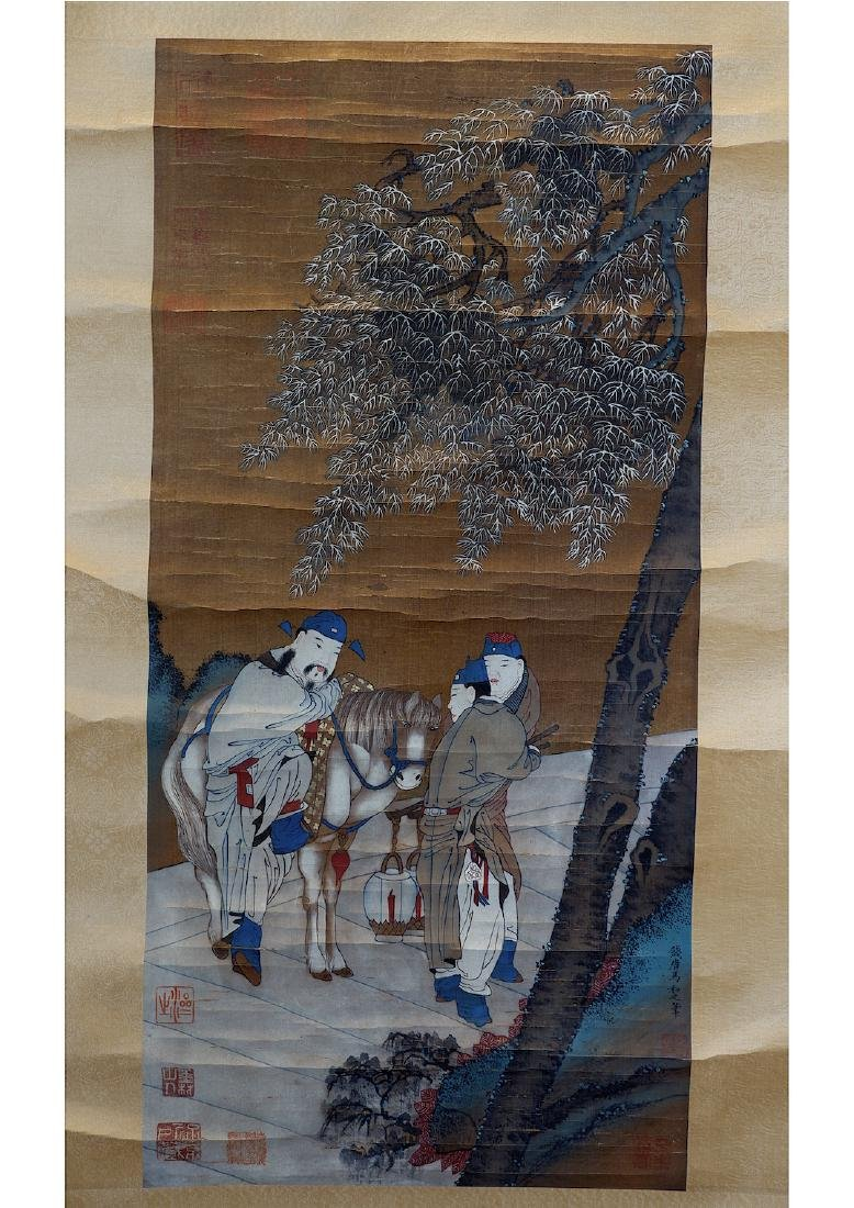 A CHINESE SILK SCROLL PAINTING, ATTRIBUTED TO MA HEZHI