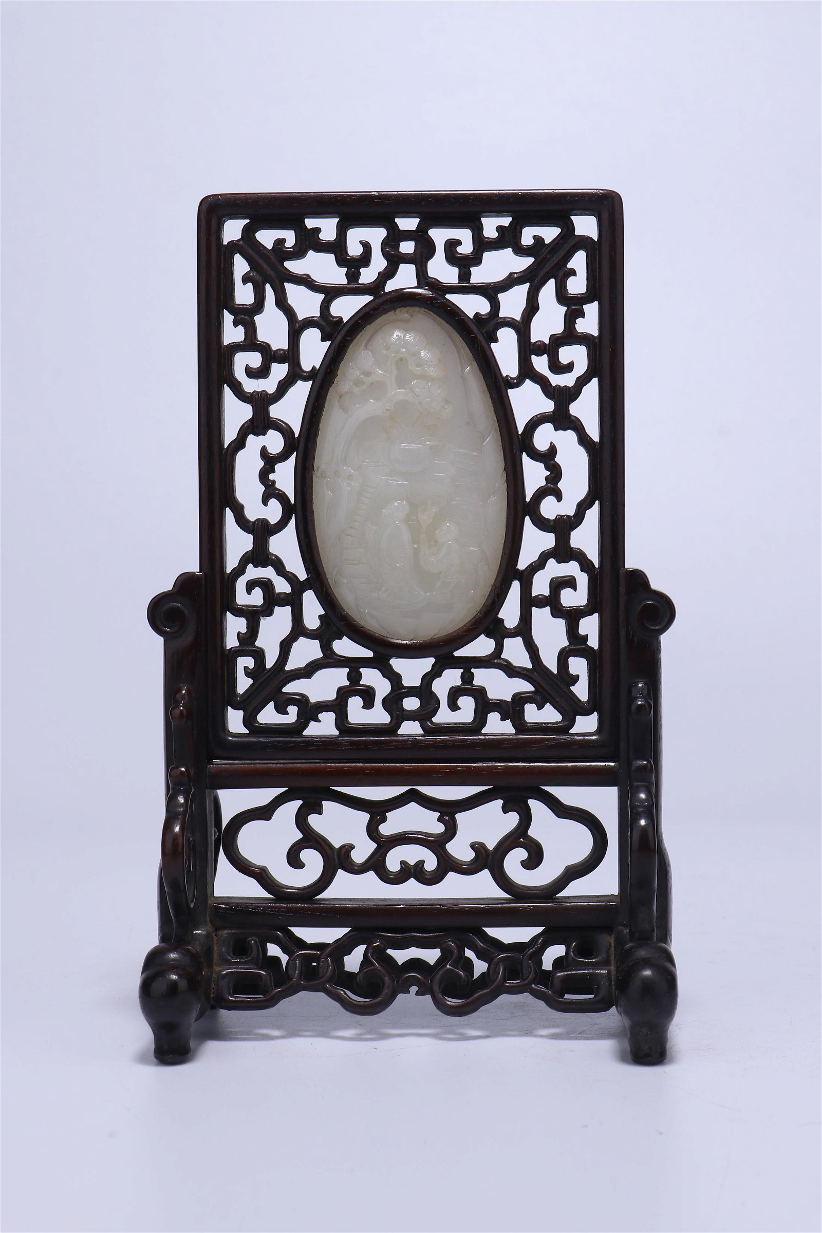 A CHINESE INLAID FINE WHITE JADE ROSEWOOD FRAME TABLE