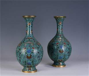 A Pair of Chinese Cloisonne Enamel Vases , Qing