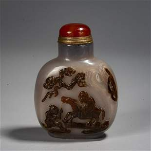 A Chinese Chinese Carved Shadow Agate Snuff Bottle ,