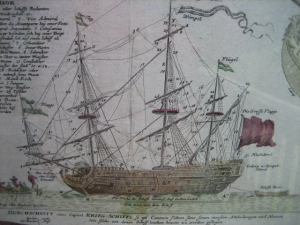 12: EARLY 1700's WAR SHIP ENGRAVING