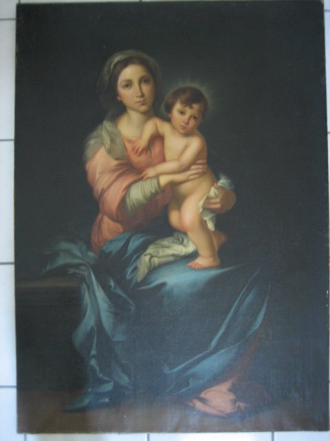 15: OLD MASTER-STYLE WOMAN AND BABY O/C PAINTING