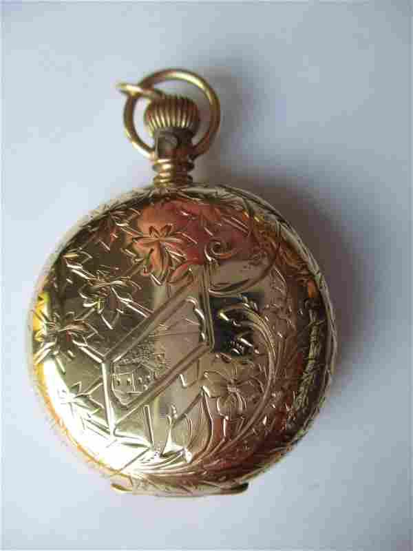Elgin 14K Gold Ornate Woman's Pocket Watch
