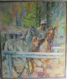 """""""Backstretch Dawn"""" Oil on Canvas  by Fay Moore"""