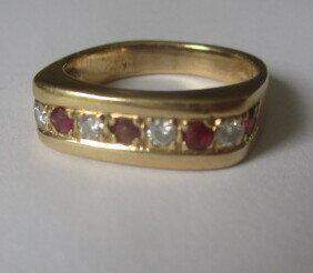 """4K Ruby and Diamond Ring Size 6 1/2"""""""