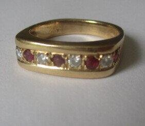 """14K Ruby and Diamond Ring Size 6 1/2"""""""