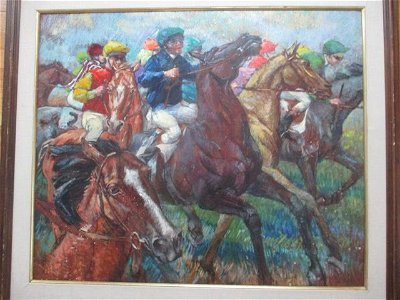 """Fay Moore """"Start of the Grand National"""" Oil on Panel"""