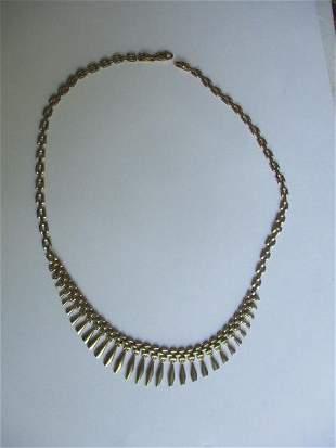 """10K Italy 17"""" Fringed Necklace"""