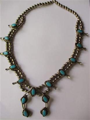 Squash Blossom Silver & Turquoise Necklace
