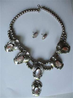 Sterling & Pink Squash Blossom Necklace & Earrings