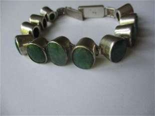 """Sterling and Jade Mineral Bracelet 7"""""""