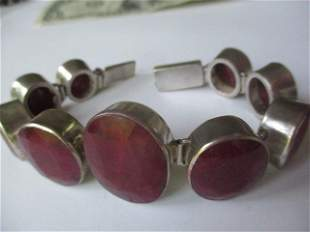 """Sterling and Ruby Mineral Bracelet 7"""""""