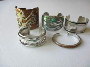 5 - Copper Signed Mexico Cuff Bracelet & Others