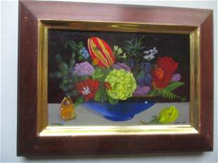 """Charles Jay 1987 """"Still Life with Butterfly"""" O/C"""