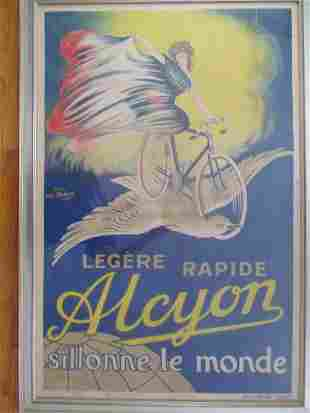 Alcyon French Bicycle Poster Signed Louis Mancin