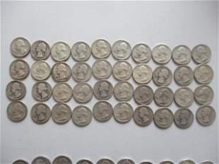 40 Washington Silver Quarters $10.00 Face Value