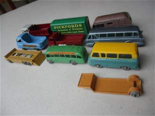 8 Older Lesney Trucks and Buses and 2 Trailers