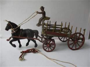 Cast Iron & Wood Horse Drawn Wagon
