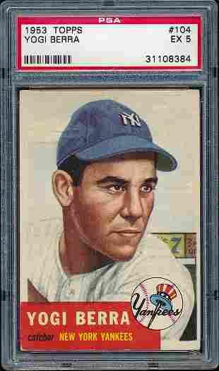 1953 Topps Baseball #104 Yogi Berra PSA 5