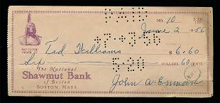 1956 Ted Williams Autographed Endorsed Check