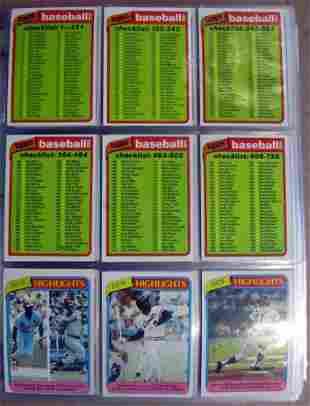 1980 Topps Baseball Complete Set