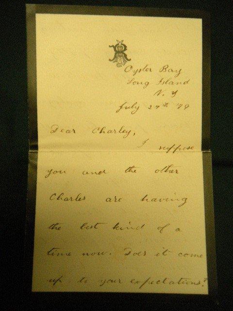 4: Teddy Roosevelt July 27. 1879 Hand Written Letter