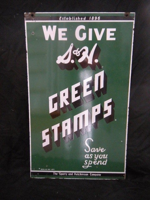 10: S & H Green Stamp Double Sided Enamel Sign