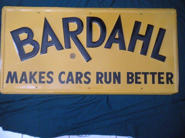 "13: Bardahl ""Makes Cars Run Better"" Tin Advertising Sig"