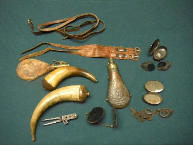 60: Powder Horns, Powder Flasks, Bullet Molds, etc.