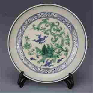 chinese green and blue porcelain plate