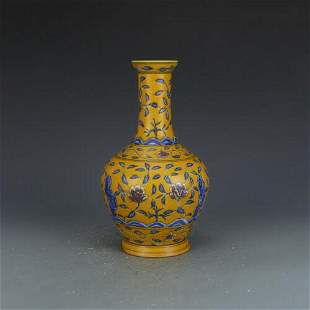 chinese yellow and blue porcelain vase
