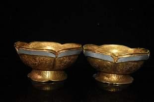 chinese gilt bronze and jade bowl pair