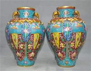 chinese bronze cloisonne enamel vase pair