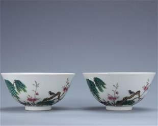 chinese famille rose porcelain bowl pair