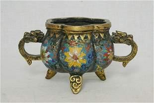 chinese bronze cloisonne enamel incense burner