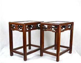 chinese huanghuali wood table pair