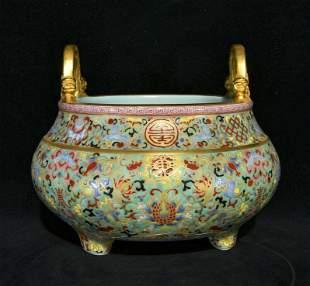 chinese famille rose porcelain incense burner